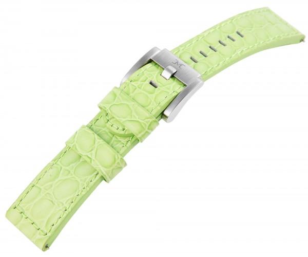 TW Steel Echt Leder Armband, 22 mm, hellgrün, silberf. Schließe