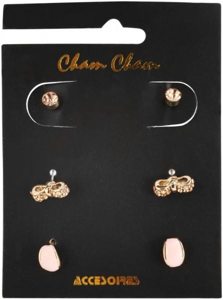 Cham Cham Ohrstecker, roségoldfarbig, VE 3 Stück