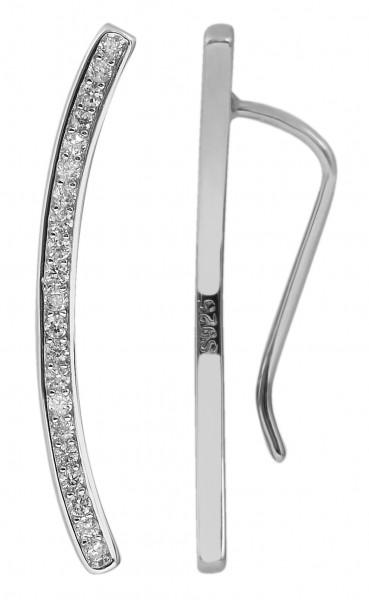 925 Echt Silber Ear Climber mit Zirkoniabesatz, 925/rhodiniert