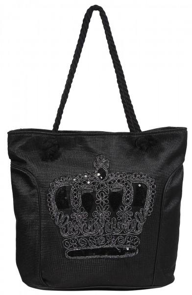Damenhandtasche mit Motiv Krone, 43,5 x 35 x 14,5 cm