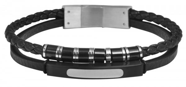 Akzent Echtlederarmband, schwarz mit Magnetschließe