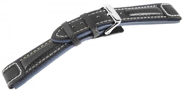 Echtleder-Uhrenarmband, schwarz/blau, weiße Naht, 20 mm - 24 mm