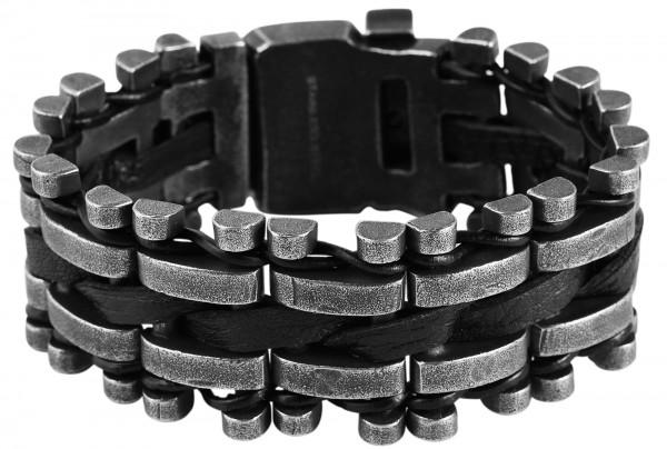Armband aus Edelstahl und Echtleder in silberfarbig