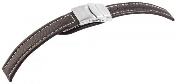 Echtleder-Uhrenarmband, braun, Faltschließe, 16 mm - 22 mm