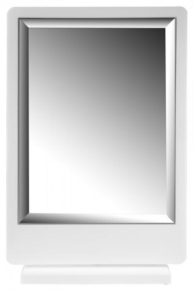 Spiegel, Rahmen weiß, Standfuß, 19,9 cm x 27,5 cm x 9,5 cm