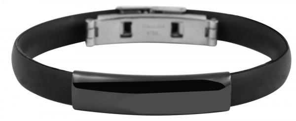 Silikonarmband mit Edelstahl mit IP- Beschichtung in schwarz.