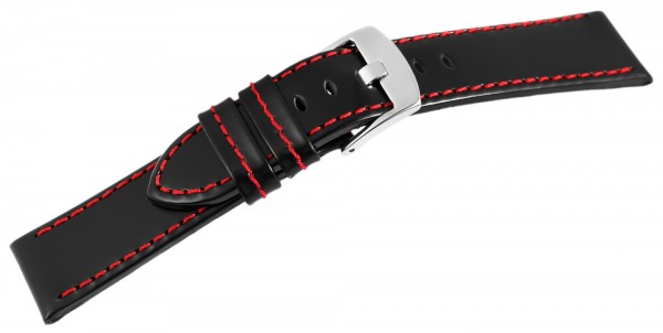 Echtleder-Uhrenarmband, schwarz, rote Naht, 18 mm - 24 mm