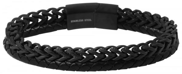 Echt Leder Armband mit Edelstahlelementen, 20,5cm, mit Verlängerungselement