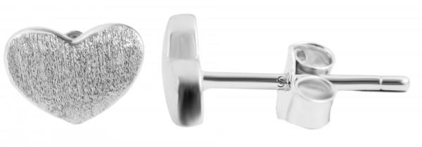 925 Echt Silber Ohrringe, mattiertes Herz, 925/rhodiniert