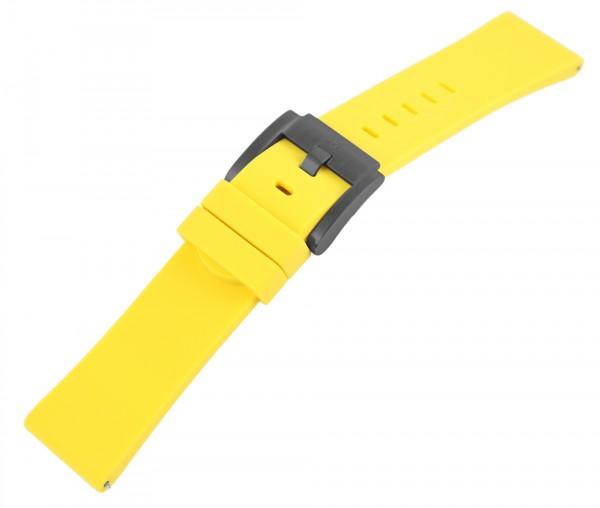 TW Steel Silikonband, 22 mm, gelb, schwarze Schließe