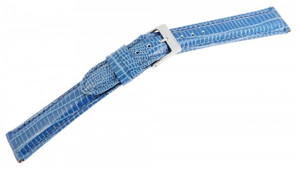 Echtleder-Uhrenarmband, blau, Schlangenoptik, 16 mm