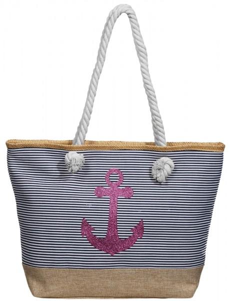 Damen Handtasche aus Textil mit Anker Motiv, Maße: 49 x 34 x 13,5 cm
