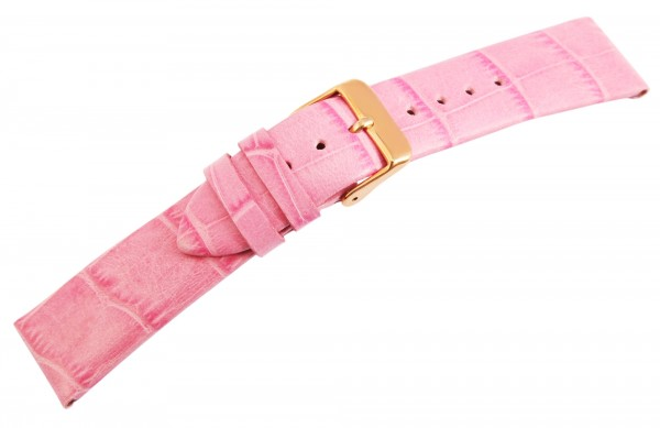 Echtleder-Uhrenarmband, rosa, 20 mm