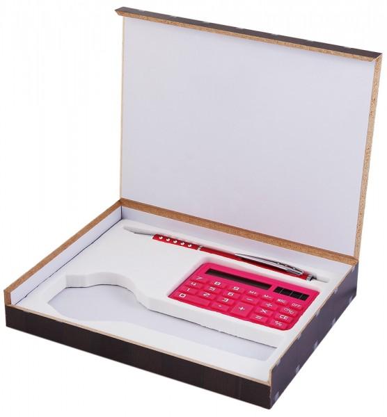 Uhrenset / Geschenkset bestehend aus Kugelschreiber, Taschenrechner, pink
