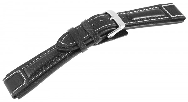 Hochwertiges Echt-Lederband, schwarz