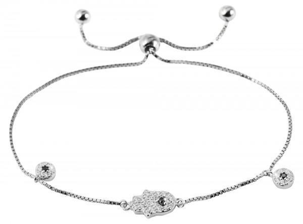 Silber Damen Armband Hand Fatima glanz mit 39 weisen und 3 Schwarzen Zirkonia