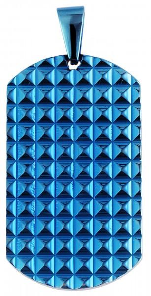 Akzent Edelstahl Gravurplatte als Anhänger mit IP Beschichtung, glänzend, mit Nieten, Länge: 43 mm /