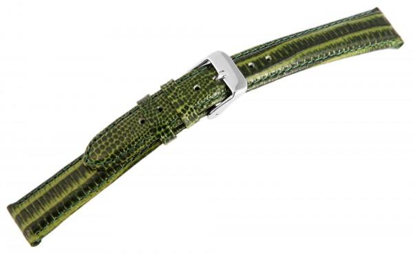 Echtleder-Uhrenarmband, dunkelgrün, Schlangenoptik, 16 mm
