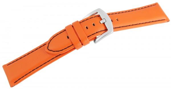 Echtleder-Uhrenarmband, orange, schwarze Naht, 22 mm / 26 mm