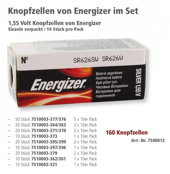 Energizer Knopfzellen im Set, 160 Knopfzellen sortiert