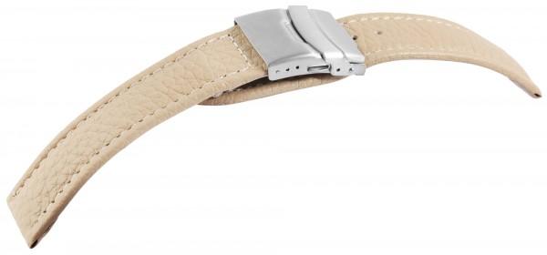 Echtleder-Uhrenarmband, beige, Faltschließe, 22 mm / 24 mm