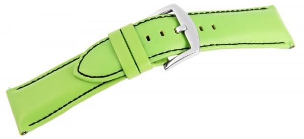 Echtleder-Uhrenarmband, hellgrün, schwarze Naht, 26 mm