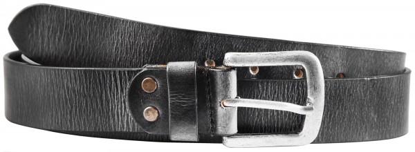 Leonardo Verrelli Echt Ledergürtel, Büffelleder, schwarz, Dornschließe