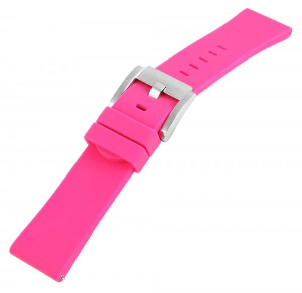 TW Steel Silikonband, 22 mm, pink, silberf. Schließe
