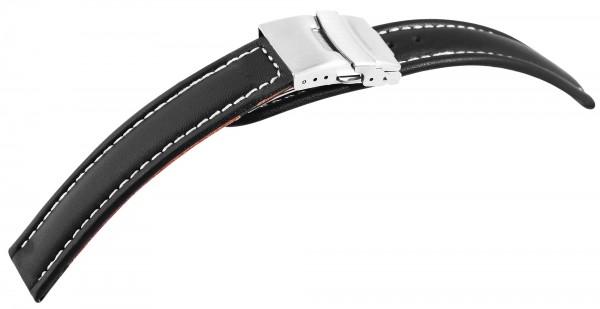 Echtleder-Uhrenarmband, schwarz, weiße Naht, Faltschließe, 16 mm / 18 mm