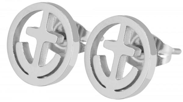 Akzent Edelstahl Ohrstecker, Anker, Durchmesser: 1,0 cm / Stärke: 0,15 cm