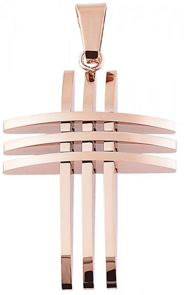 Akzent Kreuz Edelstahlanhänger mit IP Beschichtung, roségoldfarbig