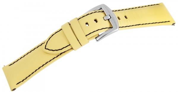 Echtleder-Uhrenarmband, gelb, schwarze Naht, 22 mm / 26 mm