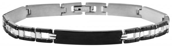 Gliederarmband aus Edelstahl in silberfarbig mit IP Black-Beschichtung