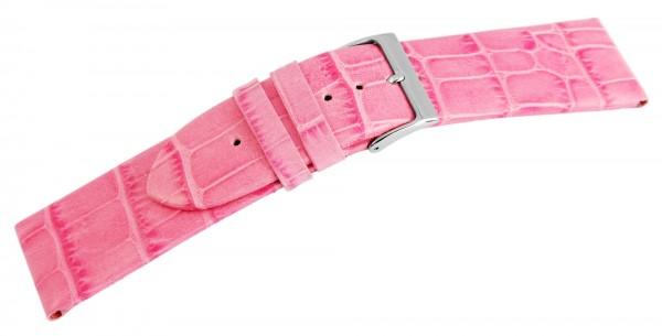 Echtleder-Uhrenarmband, rosa, Krokooptik, 16 mm - 26 mm