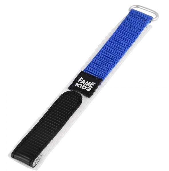 Textil Uhrenarmband, blau mit silberfarbener Schließe, 22 mm