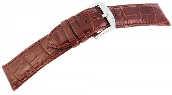 Echtleder-Uhrenarmband, braun, Krokooptik, 24 mm