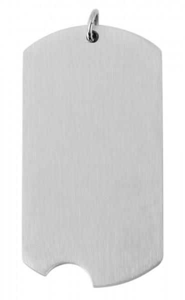 Akzent Edelstahl Gravurplatte als Anhänger, silberfarbig, Länge: 38 mm / Breite: 20 mm / Stärke: 2 m