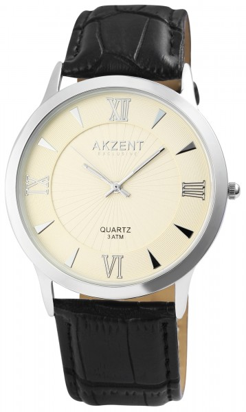 Akzent Exclusive Herrenuhr mit Lederimitationsarmband