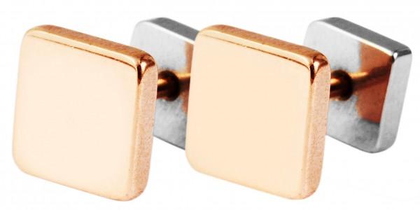 Akzent Edelstahl Front-Back Ohrstecker mit IP Beschichtung, quadratisch, bicolor