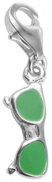 Akzent 925 Sterling Silber Charm, Motiv Sonnenbrille, grün, Maße 3 mm x 15 mm