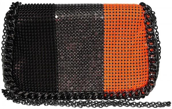 Damen Handtasche/ Clutch, Schwarz/Grau/Orange