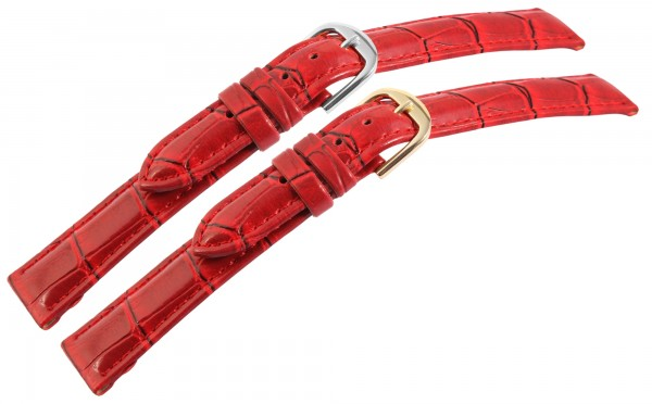 Lederimitation-Uhrenarmband, rot, Krokooptik, VE 12, 12 mm / 16 mm