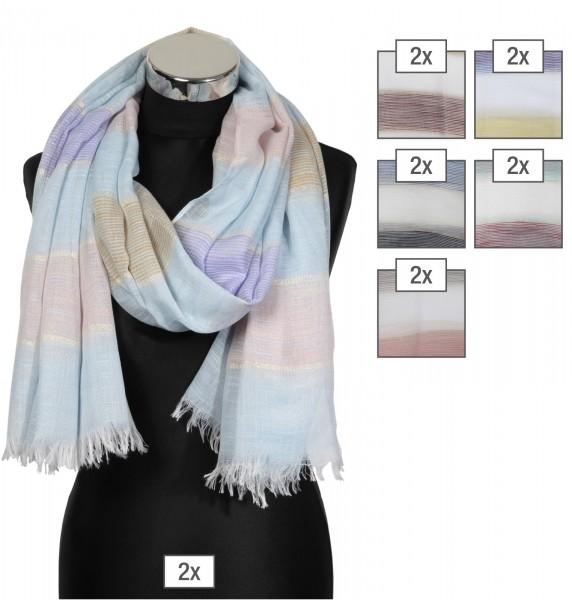 Schalpaket farblich sortiert, 100% Polyester, 85x180cm, VE 12, jeder Schal verkaufsfertig mit Bügel