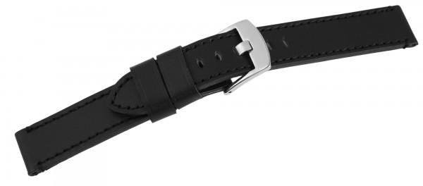 Echtleder-Uhrenarmband, schwarz, 18 mm - 26 mm