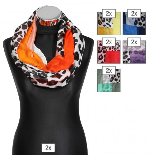 Schlaufenschalpaket farblich sortiert, 100% Polyester, 50x170cm, VE12, jeder Schal verkaufsfertig m