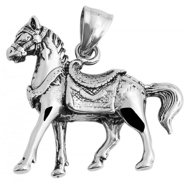 Akzent Pferd Edelstahlanhänger, silberfarbig, Länge: 34 mm / Breite: 39 mm / Stärke: 9 mm