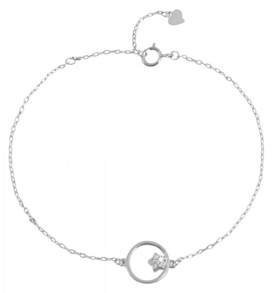 925 Echt Silber Armband mit Sternchen und Zirkoniabesatz, 17+3cm, 925/rhodiniert
