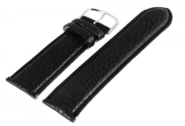 Echt-Leder Uhrenarmband, schwarz mit schwarzer Naht und silberfarbiger Schließe, 24 mm