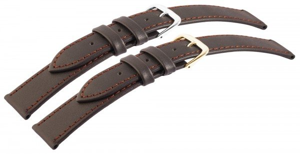 Echtleder-Uhrenarmbänder, dunkelbraun, braune Naht, VE 10, 18 mm - 24 mm