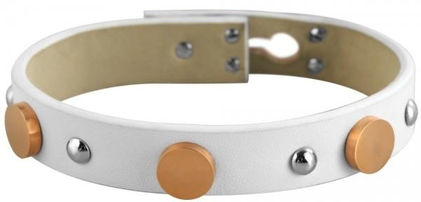 Akzent Echtleder Armband, weiß, mit Edelstahlelementen, silber farbig und IP Roseold beschichtet, Br